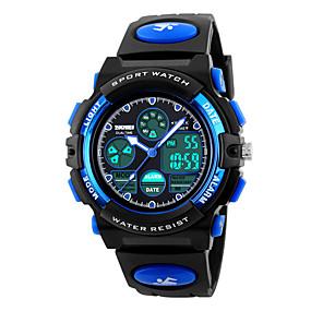 Недорогие Фирменные часы-SKMEI Спортивные часы электронные часы Кварцевый Стеганная ПУ кожа Черный 30 m Защита от влаги Будильник Календарь Аналого-цифровые Мода Для детей - Желтый Красный Синий Два года Срок службы батареи