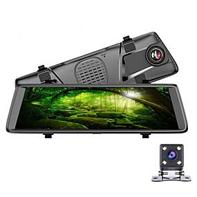 Недорогие Видеорегистраторы для авто-Автомобильный видеорегистратор 1080p DVR 140 градусов / 170 градусов широкоугольный 10-дюймовый ips-видеорегистратор с Wi-Fi / GPS / рекордером ночного видения