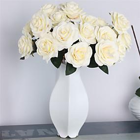 رخيصةأون أزهار اصطناعية-زهور اصطناعية 1 فرع كلاسيكي أوروبي Wedding Flowers الورود الزهور الخالدة أزهار الطاولة