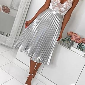 Недорогие Женская одежда-Жен. А-силуэт Подол Однотонный Плиссировка Серебряный Розовый M L XL