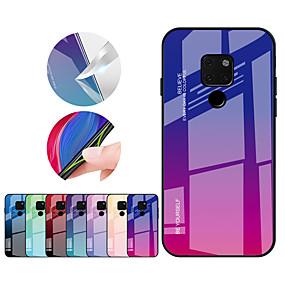 Недорогие Чехлы и кейсы для Huawei Mate-Кейс для Назначение Huawei Mate 10 pro / Mate 10 lite / Huawei Mate 20 lite Защита от удара Кейс на заднюю панель Градиент цвета Твердый ТПУ / Закаленное стекло