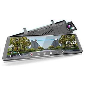 voordelige Auto DVR's-1080p streaming media achteruitkijkspiegel auto dvr 170 graden groothoek 10 inch ips dash cam met wifi / gps / nachtzicht / touchscreen auto recorder