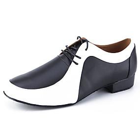 baratos Sapatos de Dança-Homens Sapatos de Dança Pele Sapatos de Dança Latina Salto Salto Grosso Personalizável Preto / Branco / Espetáculo / Couro / Ensaio / Prática