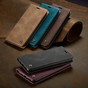 billiga iPhone XS Max-caseme case magnetiska flip-wallet telefonväskor retro solid färgade hårda kort kortplatser med stativ för iphone x / xs max / xr / 7/8 plus / 6 / 6s plus / 5 / 5s / se
