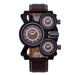 Недорогие Фирменные часы-Oulm Муж. Армейские часы Кварцевый Крупногабаритные Натуральная кожа Черный / Коричневый С тремя часовыми поясами Cool Аналоговый Роскошь - Белый Черный Кофейный