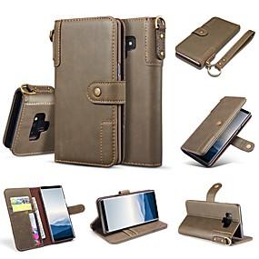 Недорогие Чехлы и кейсы для Galaxy Note 8-Кейс для Назначение SSamsung Galaxy Note 9 / Note 8 Кошелек / Бумажник для карт / со стендом Чехол Однотонный Твердый Настоящая кожа