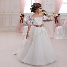 cheap Flower Girl Dresses-Ball Gown Maxi Flower Girl Dress - Cotton / Lace / Tulle Half Sleeve Off Shoulder with Appliques / Crystals / Rhinestones