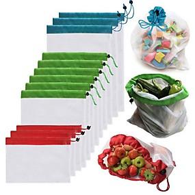 رخيصةأون أدوات & أجهزة المطبخ-1 قطع قابلة لإعادة الاستخدام شبكة إنتاج أكياس أكياس قابل للغسل ل بقالة التسوق تخزين الفاكهة الخضروات اللعب أشتات المنظم حقيبة التخزين