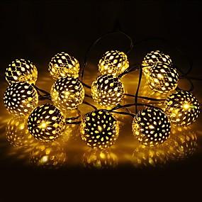 povoljno Dom i vrt-1 set vodio lampion solarni svjetlo string 10m 50 svjetlo marokanski loptu željezo loptu otvoreni vodootporan svjetlo vrt ukras svjetlo