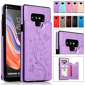 Недорогие Чехлы и кейсы для Galaxy Note 8-Кейс для Назначение SSamsung Galaxy Note 9 / Note 8 Бумажник для карт / со стендом / Рельефный Чехол Однотонный Мягкий Кожа PU