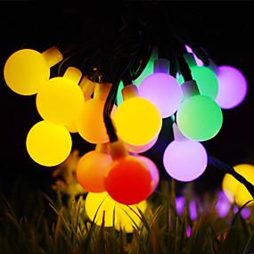olcso LEDszalagfények-50m Fényfüzérek 500 LED 1A rögzítő tartóelemet állítsa be Meleg fehér / RGB / Fehér Vízálló / Nap- / Kreatív Solarno napajanje 1set