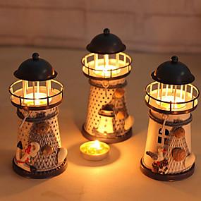 olcso Home Fragrances-miniatűr világítótorony 14cm kézzel festett világítótorony vas modell gyertyatartó