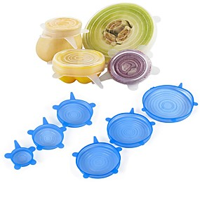 cheap Kitchen & Dining-6Pcs Food Wraps Reusable Silicone Food Fresh Keeping Sealed Covers Silicone Seal Vacuum Stretch Lids Saran Wraps Organization