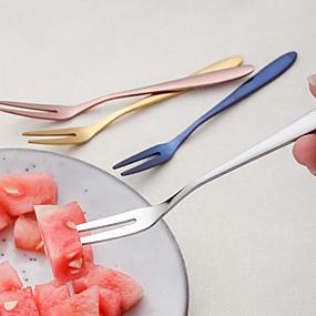 olcso Evőeszközök-304 rozsdamentes acél gyümölcstartó házi desszertes villával 6db
