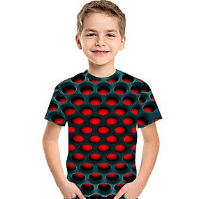 cheap New Year 2020-Kids Toddler Boys' Active Basic Geometric Print 3D Print Short Sleeve Tee Red