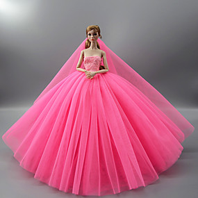 cheap Dolls & Stuffed Toys-Doll Dress Party / Evening Wedding For Barbiedoll Solid Color Light Yellow Purple Yellow Satin / Tulle Polyester 1 X Doll Clothes For Girl's Doll Toy / Kids
