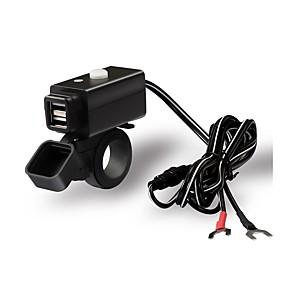 voordelige Motor- & ATV-onderdelen-dubbele usb-adapter waterdichte motorfietsoplader met schakelaarknop
