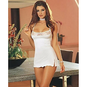 cheap Women's Clothing-Women's Backless Super Sexy Babydoll & Slips / Suits Nightwear Solid Colored White S M L / Strap