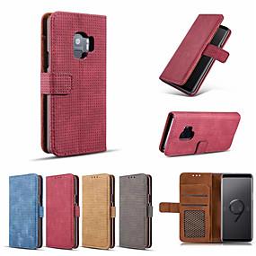 voordelige Galaxy S7 Hoesjes / covers-hoesje Voor Samsung Galaxy S9 / S9 Plus / S8 Plus Kaarthouder / met standaard / Ringhouder Volledig hoesje Effen Hard PU-nahka