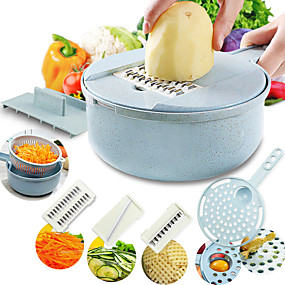 رخيصةأون أدوات & أجهزة المطبخ-ماندولين القطاعة الخضار القطاعة البطاطس مقشرة الجزر البصل مبشرة مع مصفاة الخضار القاطع 8 في 1 اكسسوارات المطبخ