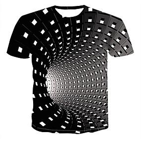 povoljno Up to 90% off-Veći konfekcijski brojevi Majica s rukavima Muškarci - Ulični šik / Punk & Gotika Dnevno Geometrijski oblici / 3D Okrugli izrez Print Crn / Kratkih rukava