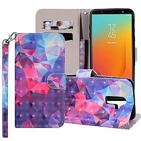 voordelige Galaxy J7(2017) Hoesjes / covers-hoesje Voor Samsung Galaxy J8 (2018) / J7 (2017) / J7 (2018) Portemonnee / Kaarthouder / met standaard Volledig hoesje Geometrisch patroon / Kleurgradatie Hard PU-nahka