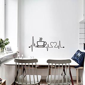 رخيصةأون ملصقات ديكور-ملصقات الحائط الإبداعية كأس القهوة - ملصقات الحائط الطائرة النقل / غرفة الدراسة المناظر الطبيعية / مكتب / غرفة الطعام / المطبخ