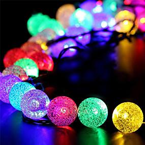 olcso LEDszalagfények-1 készlet led lámpa napelemes húr 50m 500 könnyű buborék labda kültéri vízálló könnyű kerti dekoráció fény