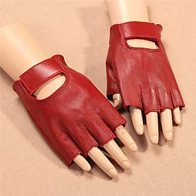 voordelige Motorhandschoenen-half-vinger dames motorhandschoenen schapehuid slijtvast / ademend
