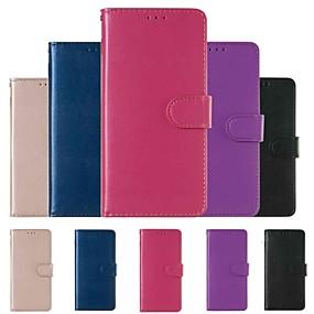 Недорогие Чехлы и кейсы для Galaxy Note 8-Кейс для Назначение SSamsung Galaxy Note 9 / Note 8 Кошелек / Бумажник для карт / Защита от удара Чехол Однотонный Твердый Кожа PU
