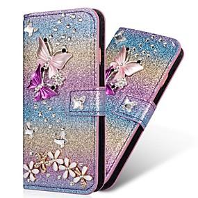 voordelige Galaxy S7 Edge Hoesjes / covers-hoesje Voor Samsung Galaxy S9 / S9 Plus / S8 Plus Portemonnee / Kaarthouder / Strass Volledig hoesje Hart / Glitterglans Hard PU-nahka