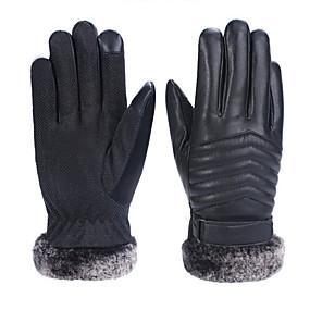 voordelige Motorhandschoenen-Lange Vinger Heren Motorhandschoenen Leder Houd Warm