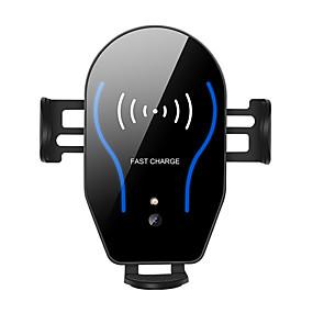abordables Cargadores para Coche-Soporte de cargador inalámbrico para automóvil qi 10w Interfaz de carga dual telescópica automática / tipo-c y micro doble carga adecuada para iphone / samsung / nokia / google y otros teléfonos