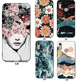 Недорогие Чехлы и кейсы для Huawei серии Y-Кейс для Назначение Huawei Huawei Honor 10 / Huawei Honor 9 Lite / Honor 7A С узором Кейс на заднюю панель Соблазнительная девушка / Цветы Мягкий ТПУ