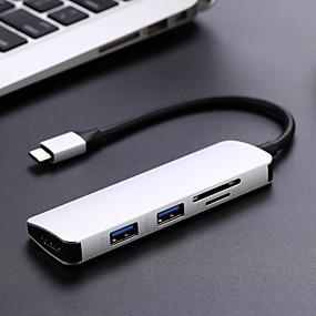 Χαμηλού Κόστους Apple-τύπος c hub usb c usb3.1 hub με hdmi 5 σε 1 combo πλήμνης με 2 usb3.0 θύρες sd tf αναγνώστη καρτών usb adapater
