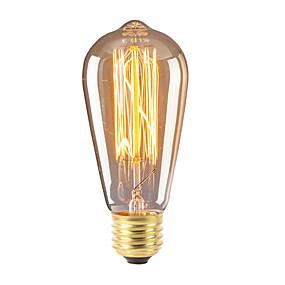 Χαμηλού Κόστους Λαμπτήρες πυράκτωσης-1pc 40 W E26 / E27 ST58 Θερμό Λευκό 2300 k Ρετρό / Με ροοστάτη / Διακοσμητικό Λαμπτήρας πυρακτώσεως Vintage Edison 220-240 V