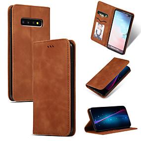 Недорогие Чехлы и кейсы для Galaxy Note 8-Кейс для Назначение SSamsung Galaxy Note 9 / Note 8 Бумажник для карт / со стендом / Флип Чехол Однотонный Мягкий Кожа PU