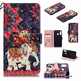Недорогие Чехлы и кейсы для Huawei Mate-Кейс для Назначение Huawei Huawei Nova 4 / Huawei P20 / Huawei P20 Pro Кошелек / Бумажник для карт / Защита от удара Чехол Животное / Мультипликация Твердый Кожа PU