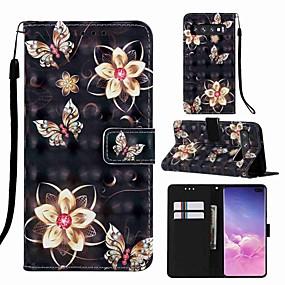 voordelige Galaxy S7 Hoesjes / covers-case voor samsung galaxy s8 plus / s9 plus patroon / flip / met standaard full body cases cartoon / vlinder hard pu leer voor galaxy s10 / galaxy s10 plus / galaxy s10 e