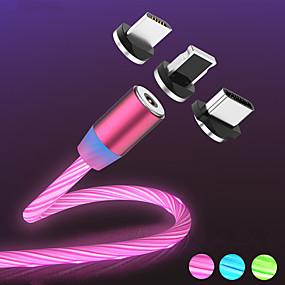 olcso Apple-mágneses áramlási világító LED-es töltőkábel iphone xs max mikro típusú c töltéshez a50 a70 p30 kábel gyors töltőmágnes