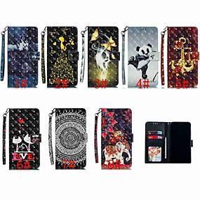 Недорогие Чехлы и кейсы для Huawei Mate-Кейс для Назначение Huawei Huawei Nova 4 / Huawei P20 / Huawei P20 Pro Кошелек / Бумажник для карт / Защита от удара Чехол Животное / Мультипликация / Панда Твердый Кожа PU