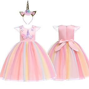 hesapli Cosplay ve Kostümler-Prenses Unicorn Cosplay Kostümleri Maskeli Balo Çiçekçi Kız Elbisesi Genç Kız Film Kostümleri A-Line Alt Giyimi Cosplay tatil elbisesi Mor / Sarı / Pembe Elbise Başlık Yılbaşı Cadılar Bayramı Karnaval