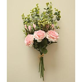 رخيصةأون أزهار اصطناعية-زهور اصطناعية 1 فرع كلاسيكي Wedding Flowers النمط الرعوي الورود أزهار الطاولة