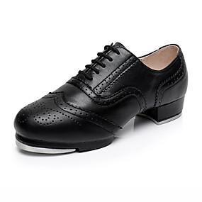 baratos Sapatos de Dança-Homens Sapatos de Dança Couro / Pele Sapatilhas de Sapateado Salto Salto Grosso Personalizável Preto / Espetáculo / Ensaio / Prática