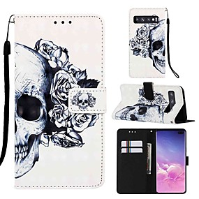 voordelige Galaxy S7 Hoesjes / covers-case voor samsung galaxy s8 plus / s9 plus patroon / flip / met standaard full body cases cartoon / schedel hard pu leer voor galaxy s10 / galaxy s10 plus / galaxy s10 e