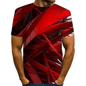 tanie NOWOŚCI-Rozmiar UE / USA T-shirt Męskie Moda miejska / Przesadny, Nadruk Kij Okrągły dekolt Kolorowy blok / 3D / Graficzny Czerwony / Krótki rękaw