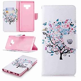 Недорогие Чехлы и кейсы для Galaxy Note 8-Кейс для Назначение SSamsung Galaxy Note 9 / Note 8 Кошелек / Бумажник для карт / со стендом Чехол Бабочка / дерево / Цветы Твердый Кожа PU