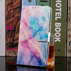 Недорогие Чехлы и кейсы для Galaxy J3-Кейс для Назначение SSamsung Galaxy J8 (2018) / J7 (2017) / J6 (2018) Кошелек / Бумажник для карт / со стендом Чехол Мрамор Твердый Кожа PU