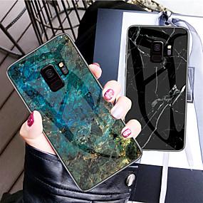 Недорогие Чехлы и кейсы для Galaxy Note 8-Кейс для Назначение SSamsung Galaxy Note 9 / Note 8 С узором Кейс на заднюю панель Однотонный Твердый Закаленное стекло