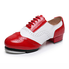 cheap Kids' Shoes-Girls' Dance Shoes Faux Leather Tap Shoes Heel Thick Heel Customizable Red / White / Performance / Practice